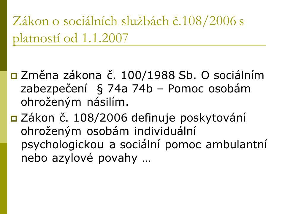 Zákon o sociálních službách č.108/2006 s platností od 1.1.2007