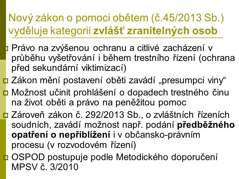 Nový zákon o pomoci obětem (č. 45/2013 Sb