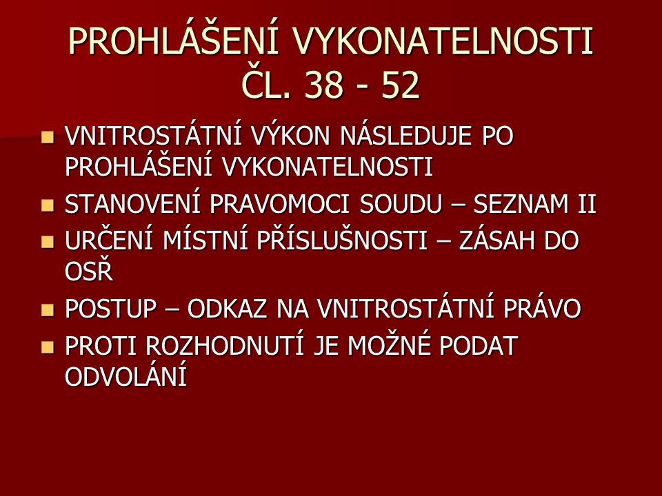PROHLÁŠENÍ VYKONATELNOSTI ČL. 38 - 52