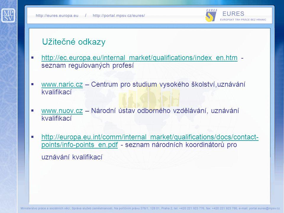 Užitečné odkazy http://ec.europa.eu/internal_market/qualifications/index_en.htm - seznam regulovaných profesí.