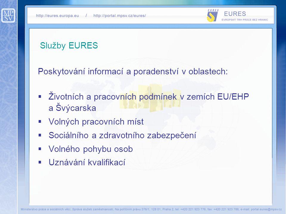 Služby EURES Poskytování informací a poradenství v oblastech: Životních a pracovních podmínek v zemích EU/EHP a Švýcarska.