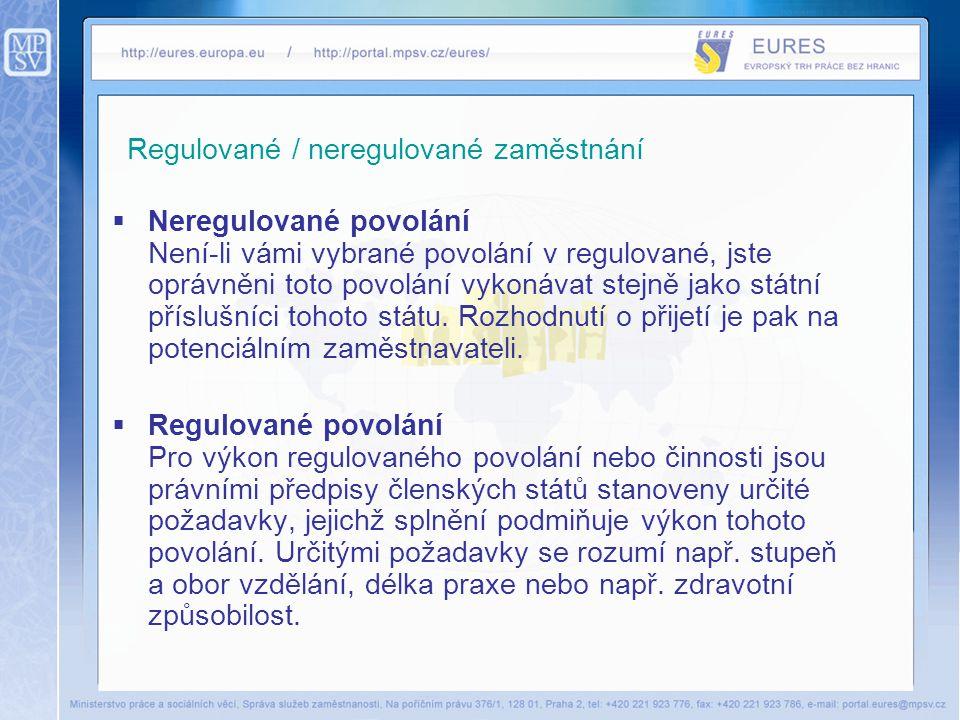 Regulované / neregulované zaměstnání