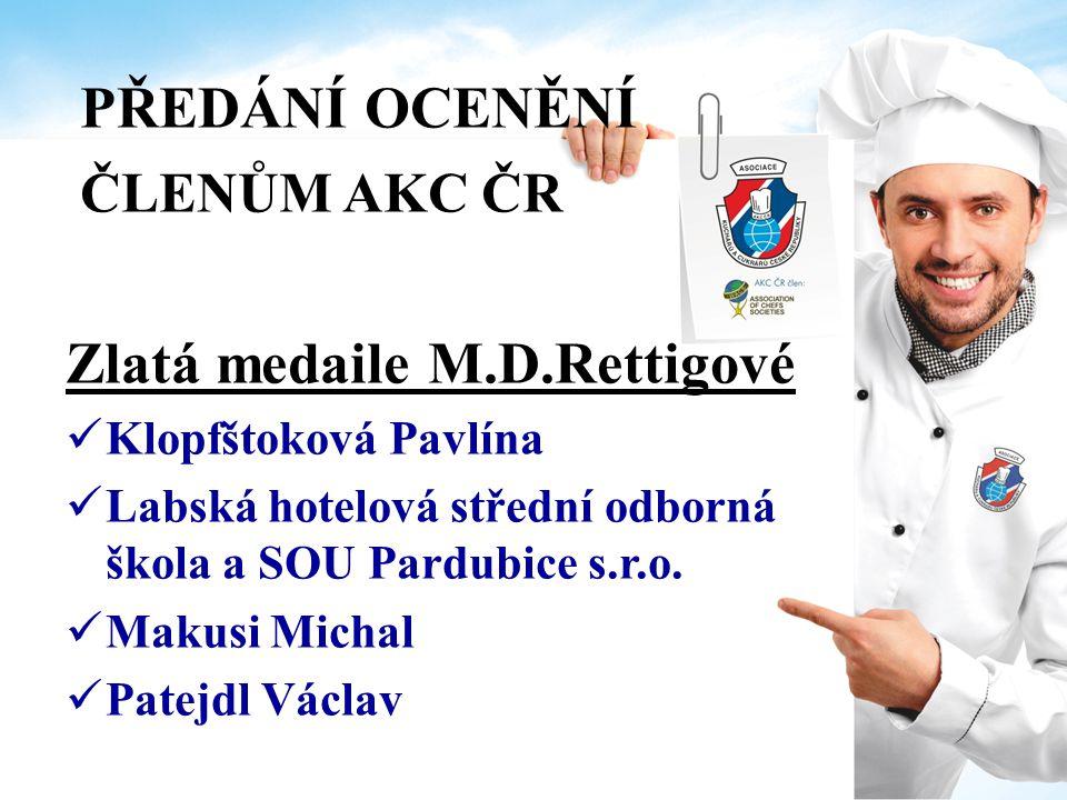 Zlatá medaile M.D.Rettigové