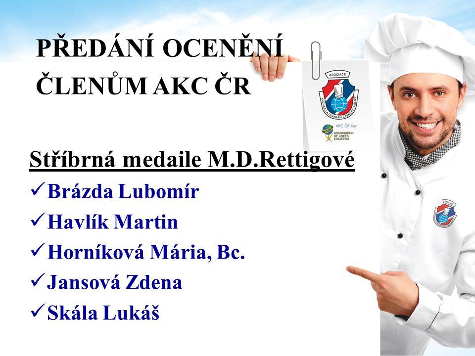 PŘEDÁNÍ OCENĚNÍ ČLENŮM AKC ČR Stříbrná medaile M.D.Rettigové