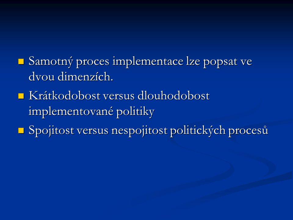 Samotný proces implementace lze popsat ve dvou dimenzích.