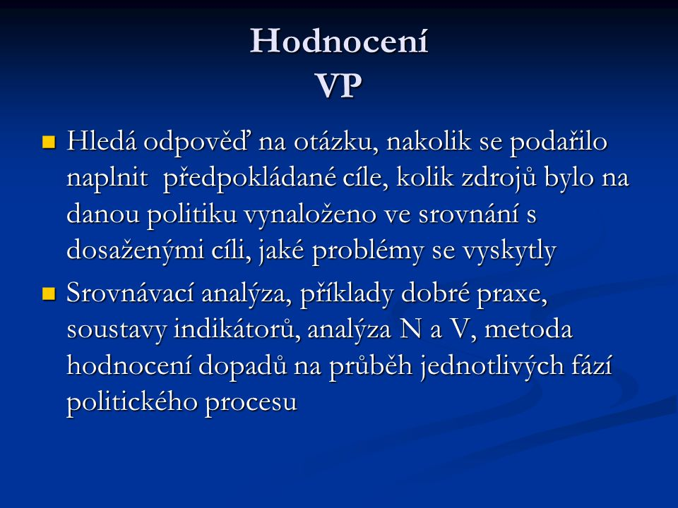 Hodnocení VP