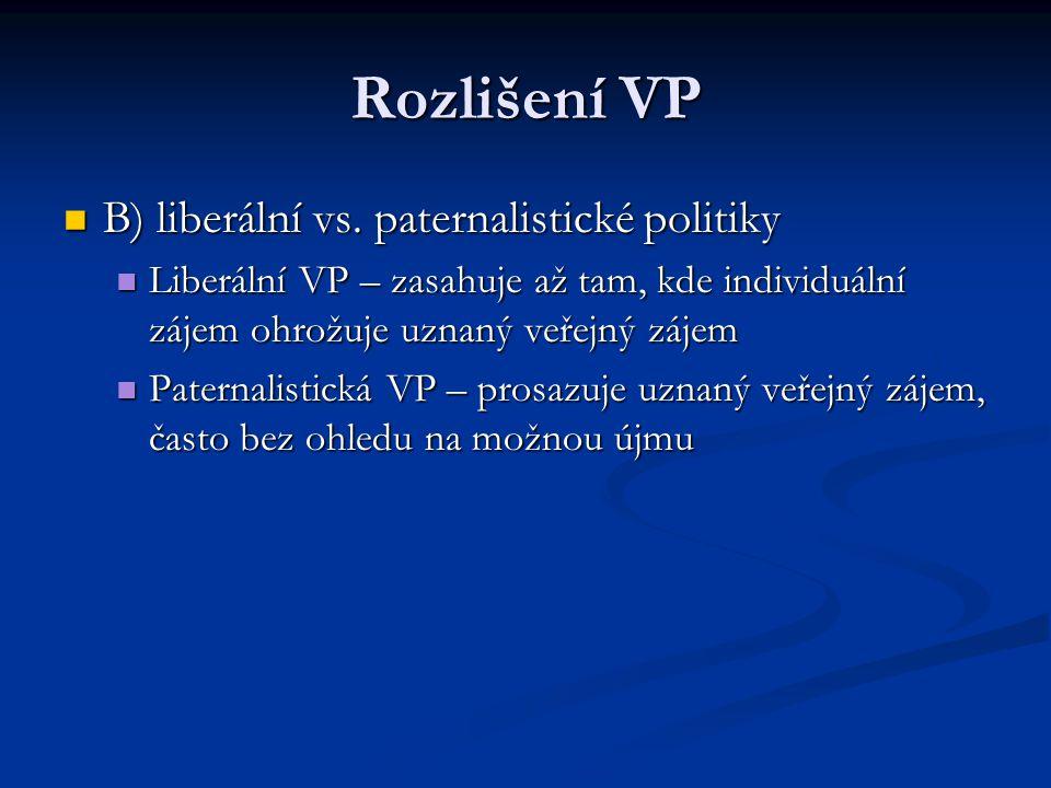 Rozlišení VP B) liberální vs. paternalistické politiky