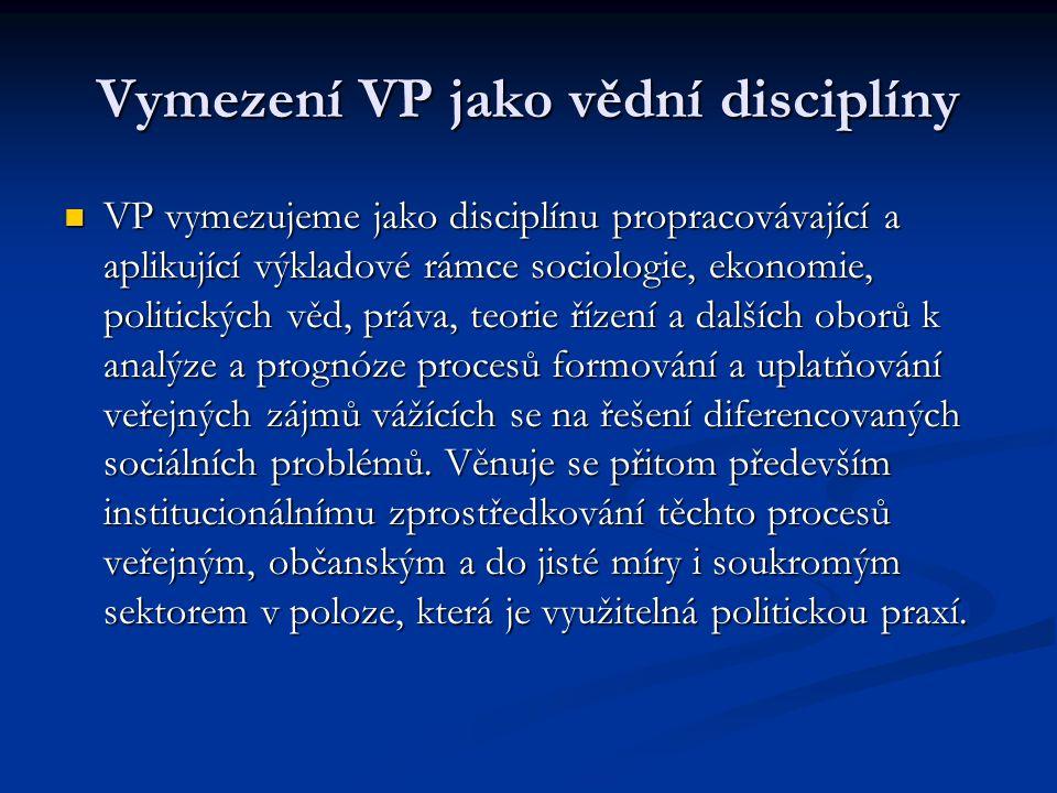 Vymezení VP jako vědní disciplíny
