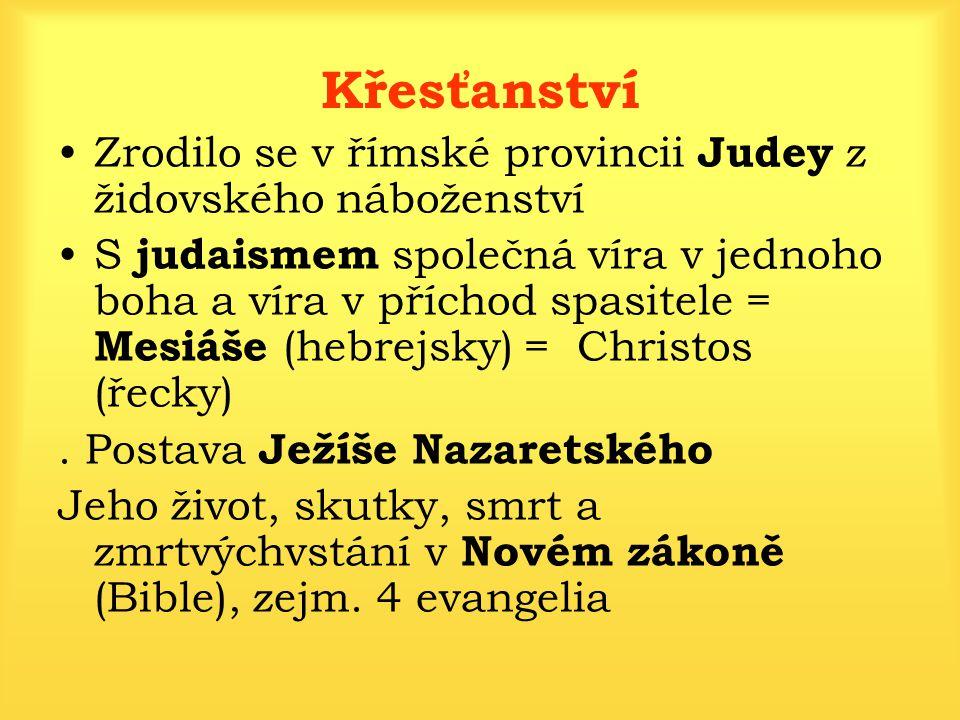Křesťanství Zrodilo se v římské provincii Judey z židovského náboženství.