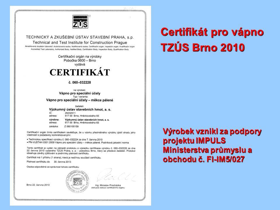 Certifikát pro vápno TZÚS Brno 2010
