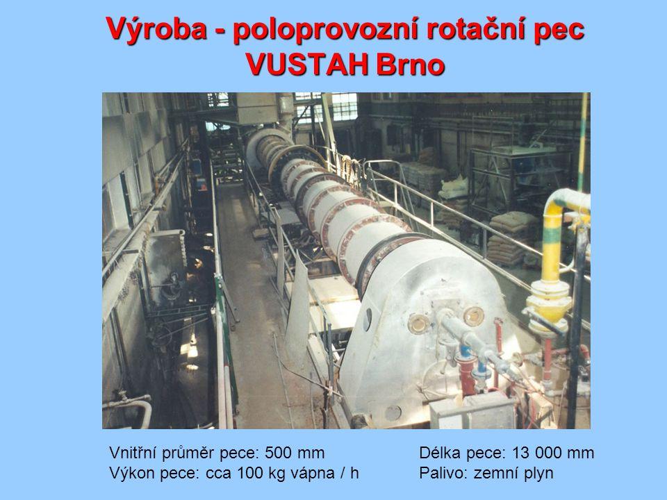 Výroba - poloprovozní rotační pec VUSTAH Brno