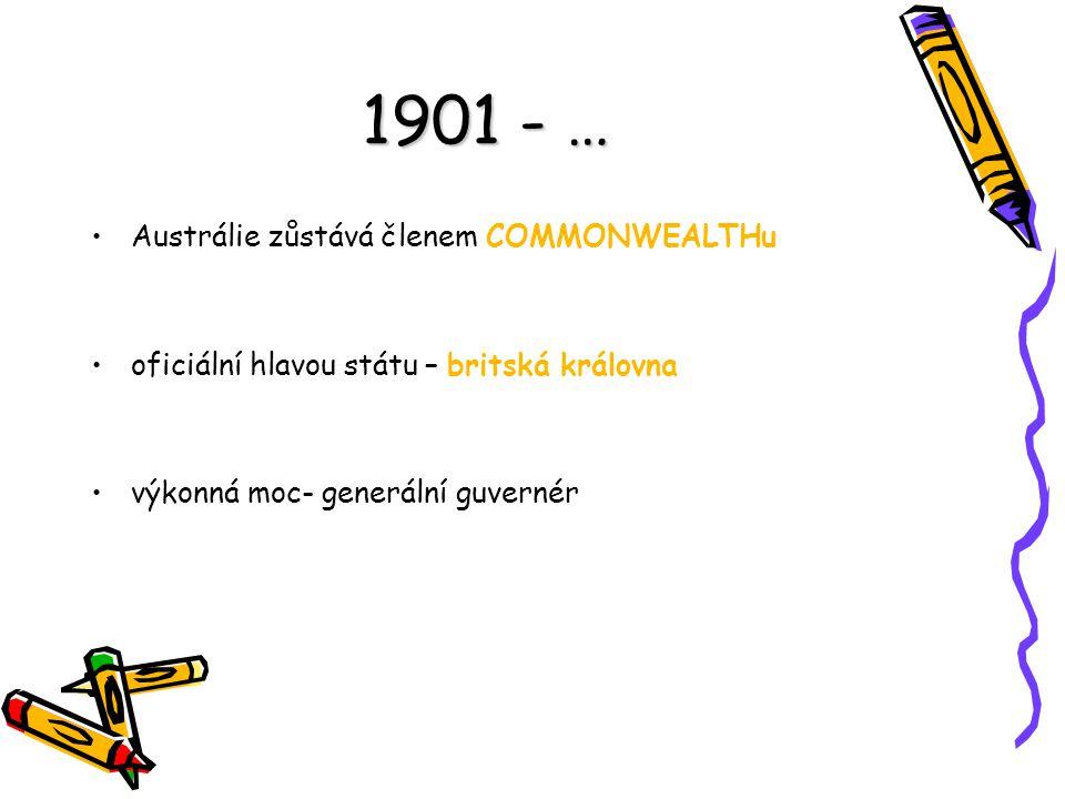 1901 - … Austrálie zůstává členem COMMONWEALTHu
