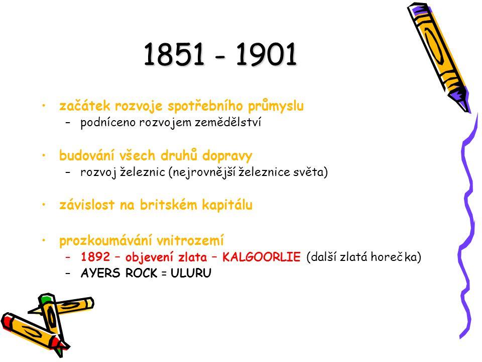 1851 - 1901 začátek rozvoje spotřebního průmyslu