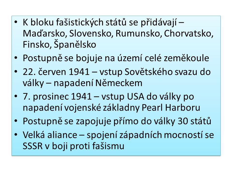 K bloku fašistických států se přidávají – Maďarsko, Slovensko, Rumunsko, Chorvatsko, Finsko, Španělsko