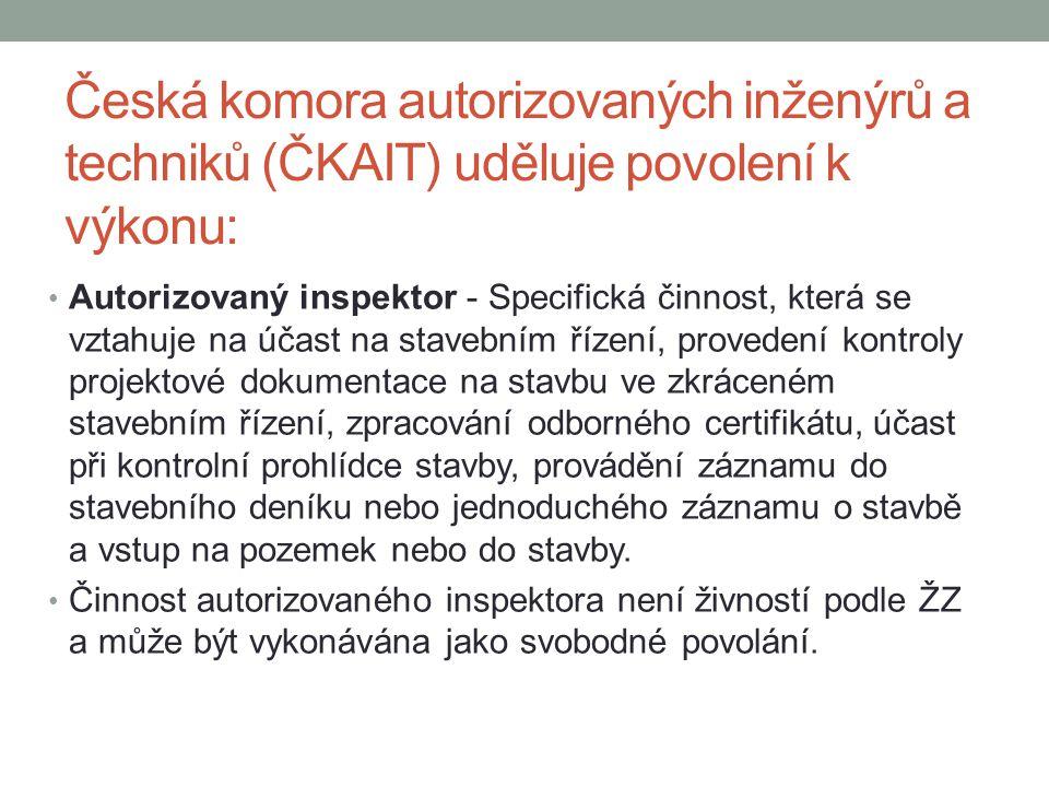 Česká komora autorizovaných inženýrů a techniků (ČKAIT) uděluje povolení k výkonu: