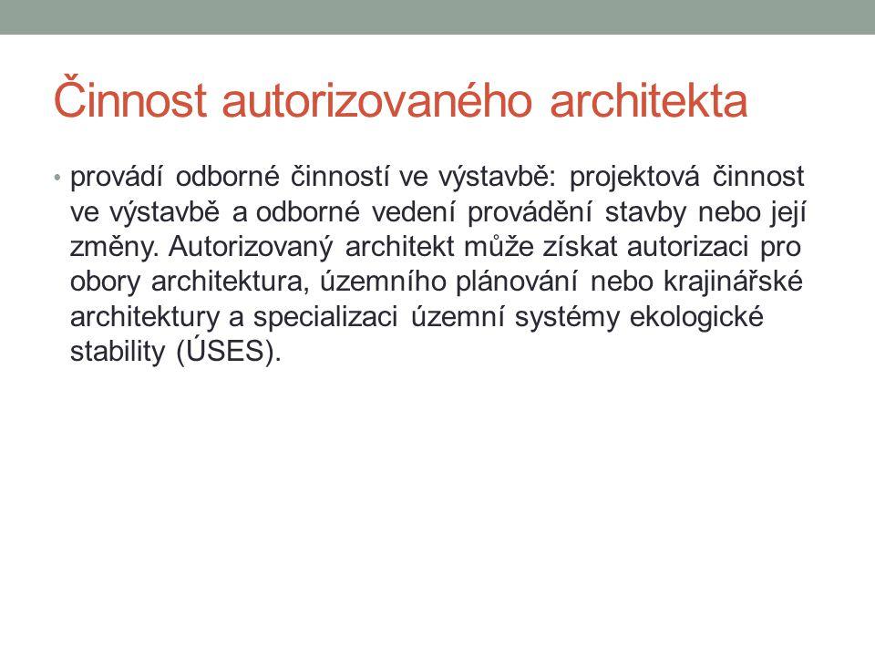 Činnost autorizovaného architekta