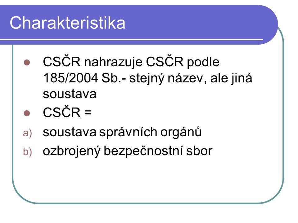 Charakteristika CSČR nahrazuje CSČR podle 185/2004 Sb.- stejný název, ale jiná soustava. CSČR = soustava správních orgánů.