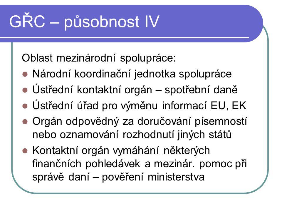 GŘC – působnost IV Oblast mezinárodní spolupráce: