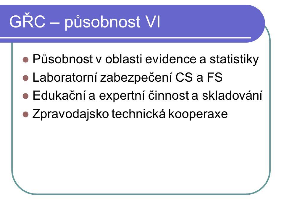 GŘC – působnost VI Působnost v oblasti evidence a statistiky