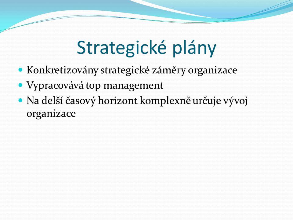 Strategické plány Konkretizovány strategické záměry organizace