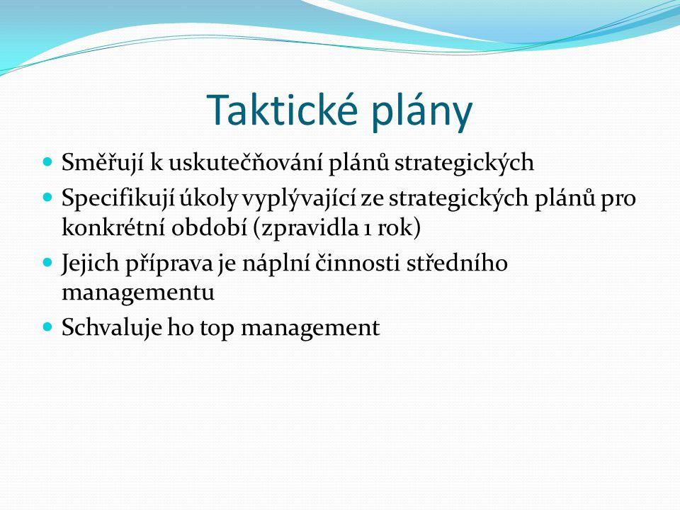Taktické plány Směřují k uskutečňování plánů strategických
