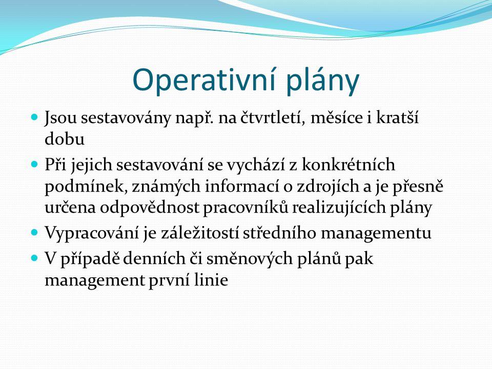 Operativní plány Jsou sestavovány např. na čtvrtletí, měsíce i kratší dobu.