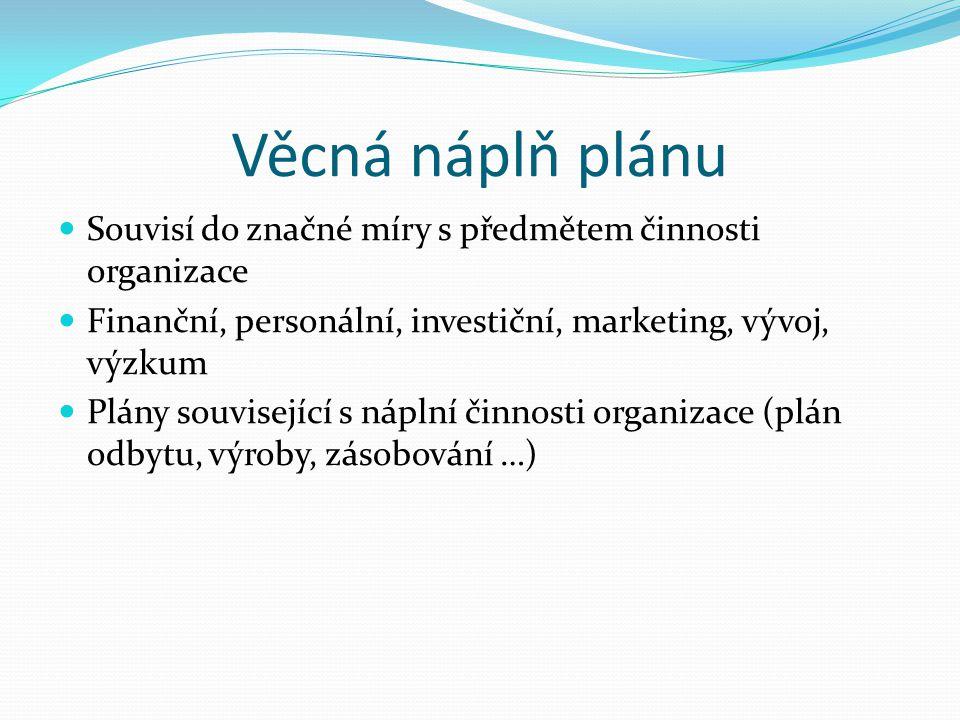 Věcná náplň plánu Souvisí do značné míry s předmětem činnosti organizace. Finanční, personální, investiční, marketing, vývoj, výzkum.