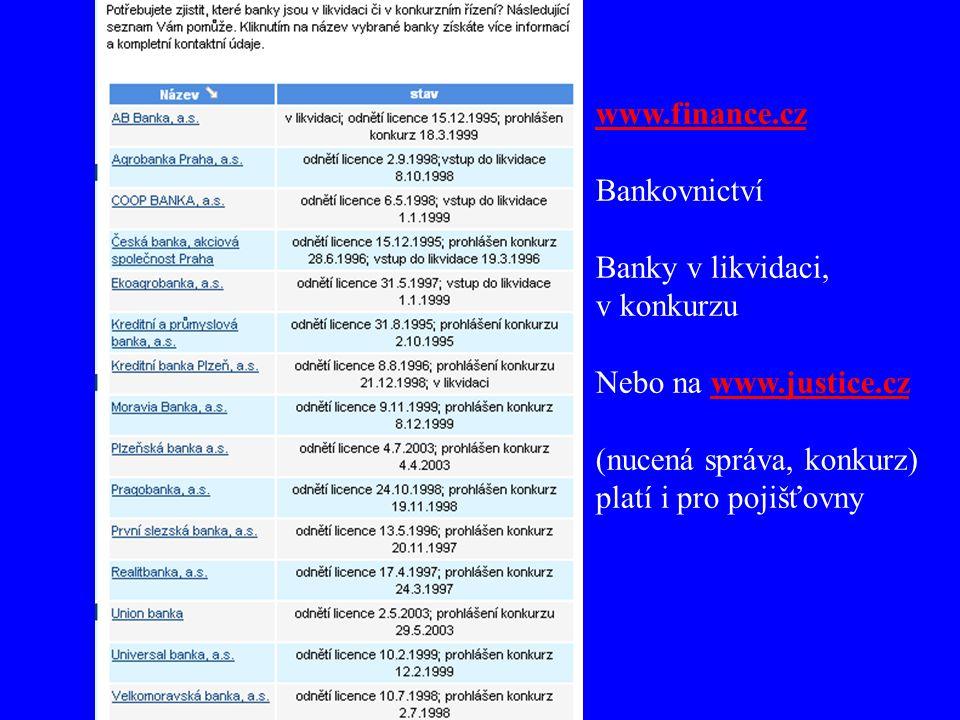www.finance.cz Bankovnictví. Banky v likvidaci, v konkurzu. Nebo na www.justice.cz. (nucená správa, konkurz)