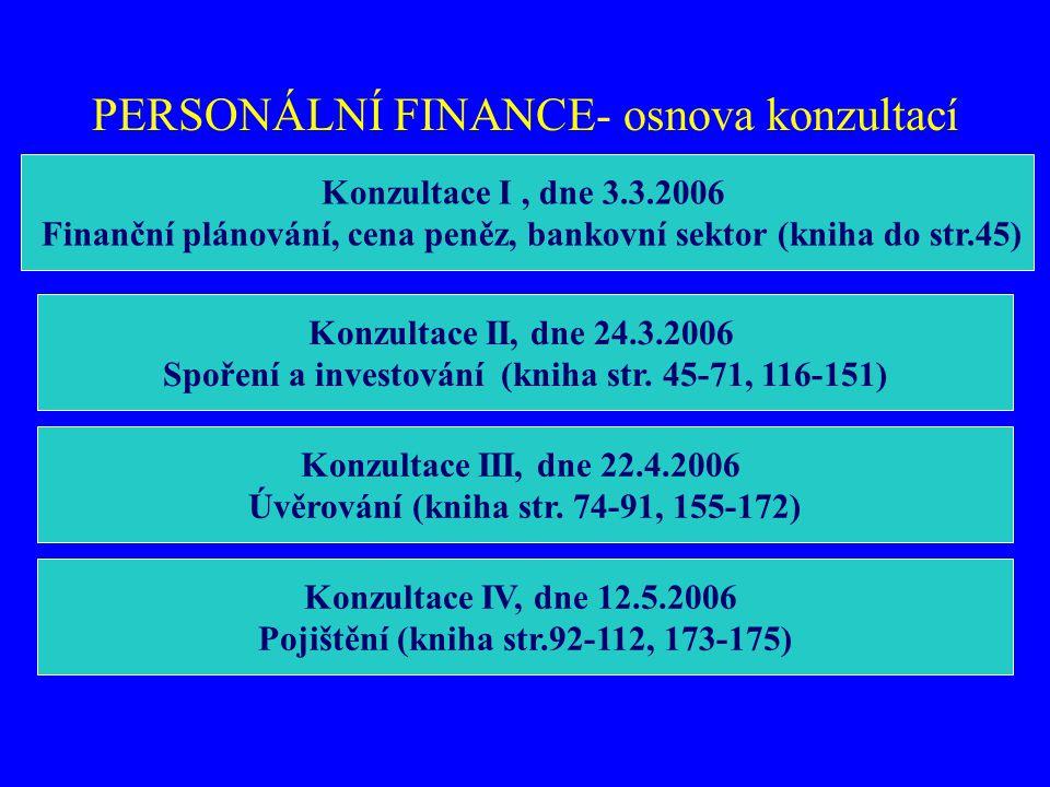 PERSONÁLNÍ FINANCE- osnova konzultací
