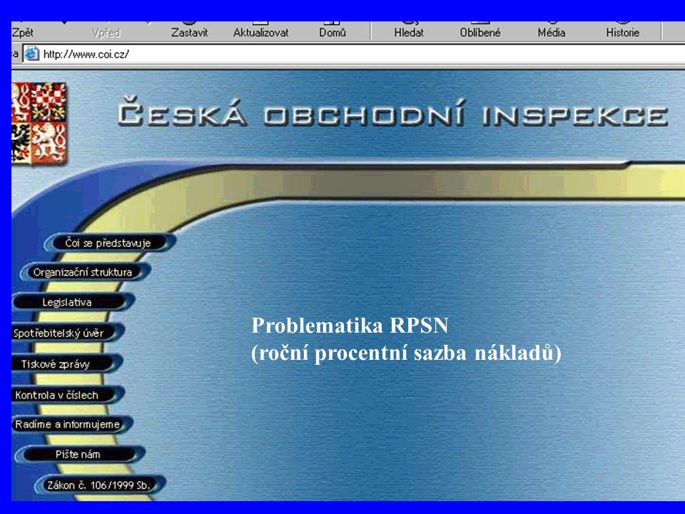 Problematika RPSN (roční procentní sazba nákladů)