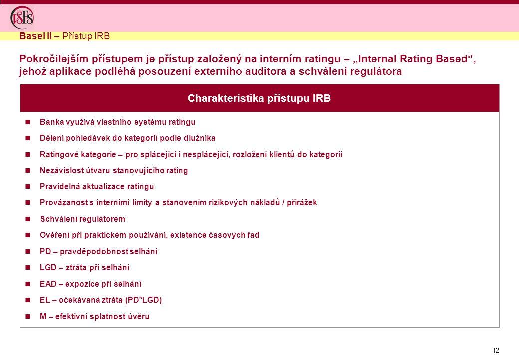 Charakteristika přístupu IRB
