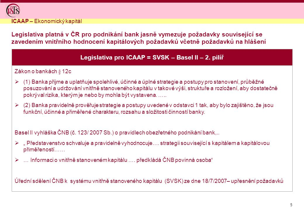 Legislativa pro ICAAP = SVSK – Basel II – 2. pilíř