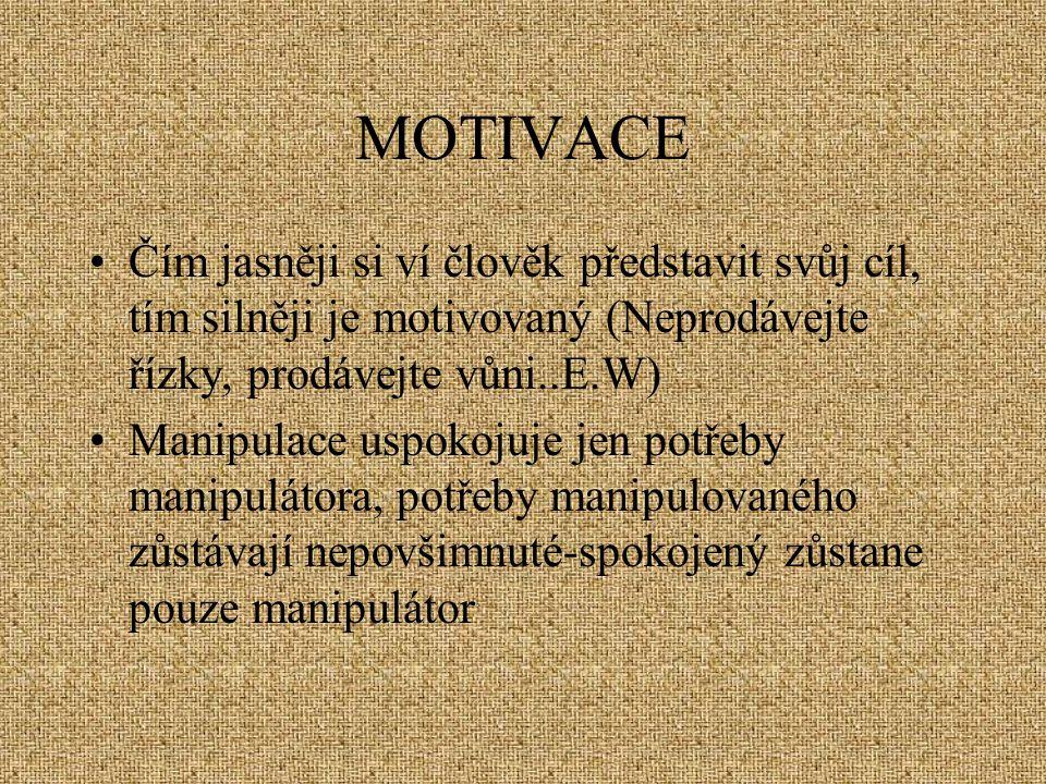 MOTIVACE Čím jasněji si ví člověk představit svůj cíl, tím silněji je motivovaný (Neprodávejte řízky, prodávejte vůni..E.W)