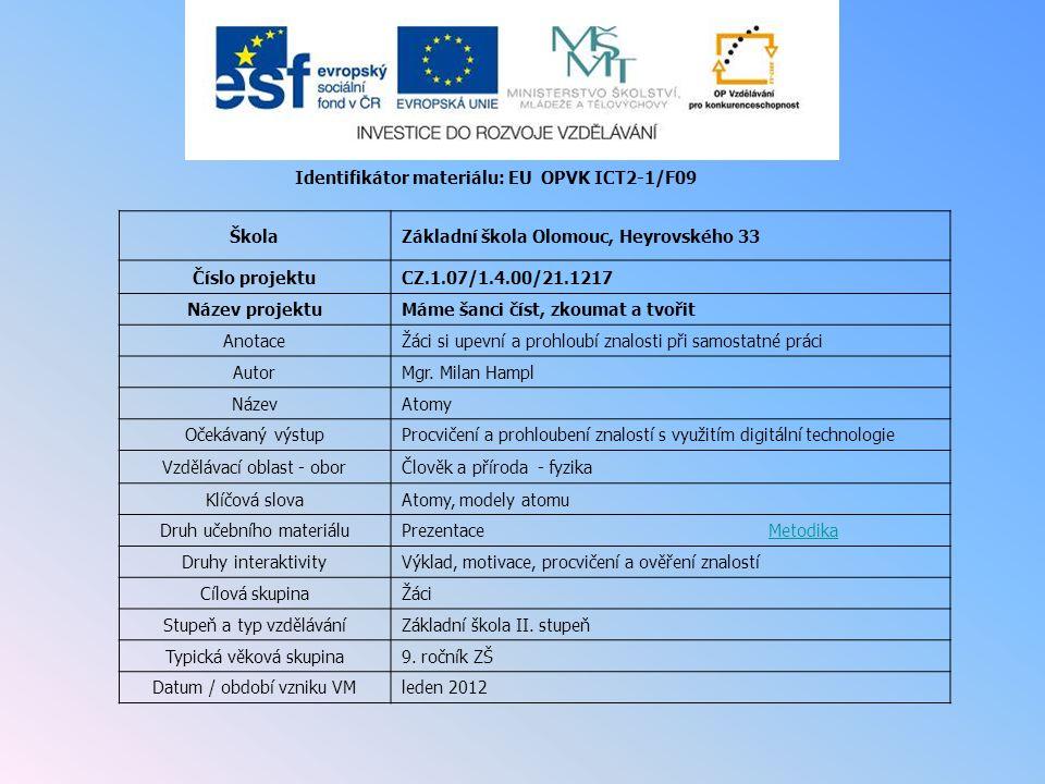 Identifikátor materiálu: EU OPVK ICT2-1/F09