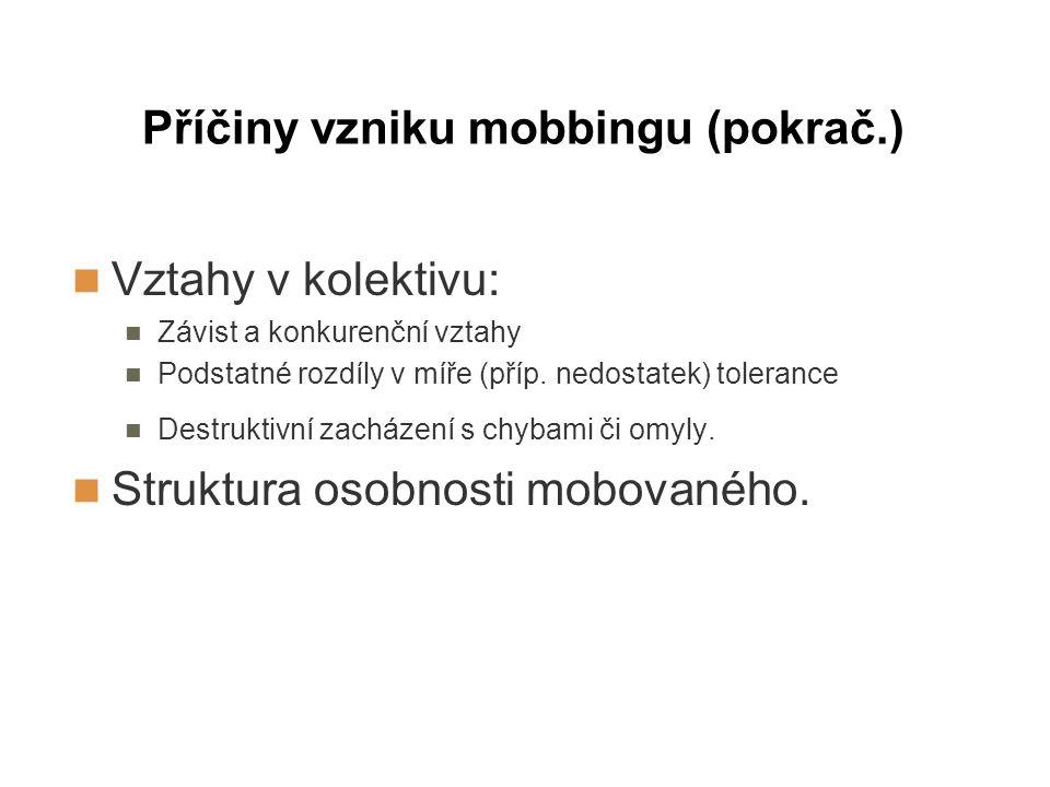 Příčiny vzniku mobbingu (pokrač.)
