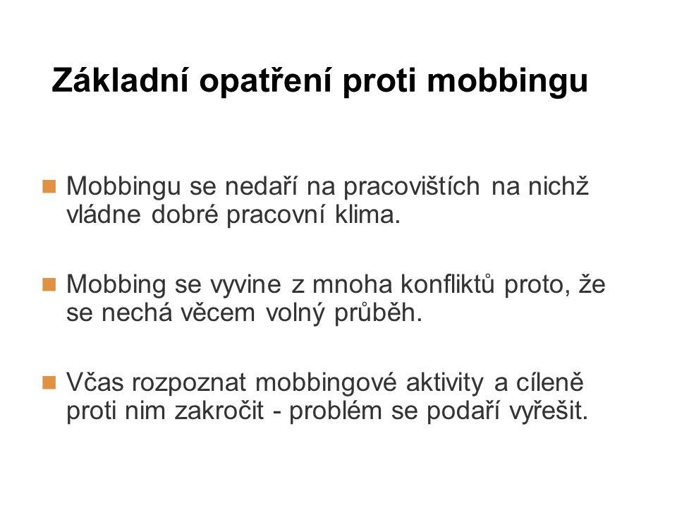 Základní opatření proti mobbingu