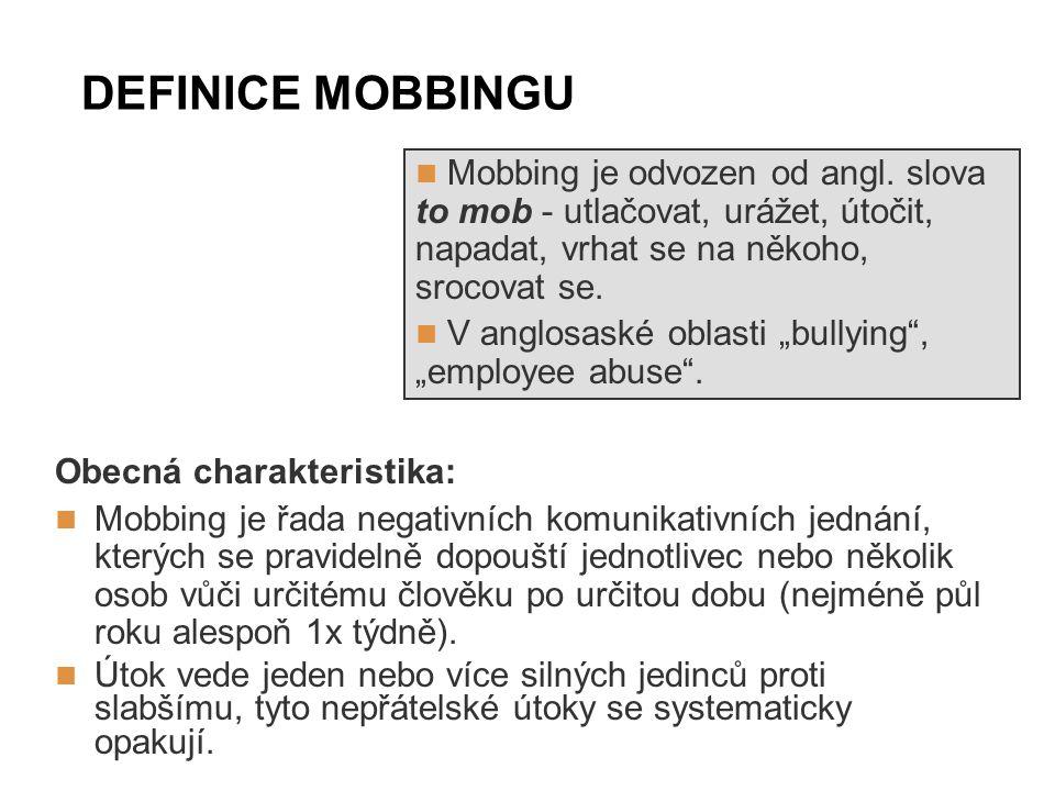 DEFINICE MOBBINGU Mobbing je odvozen od angl. slova to mob - utlačovat, urážet, útočit, napadat, vrhat se na někoho, srocovat se.
