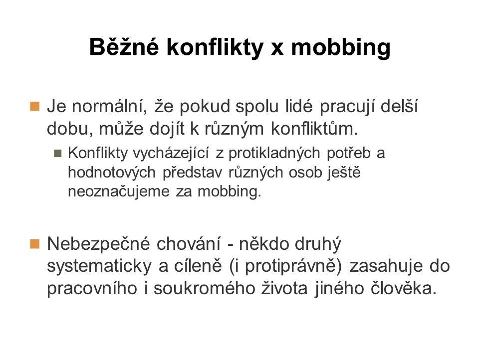 Běžné konflikty x mobbing