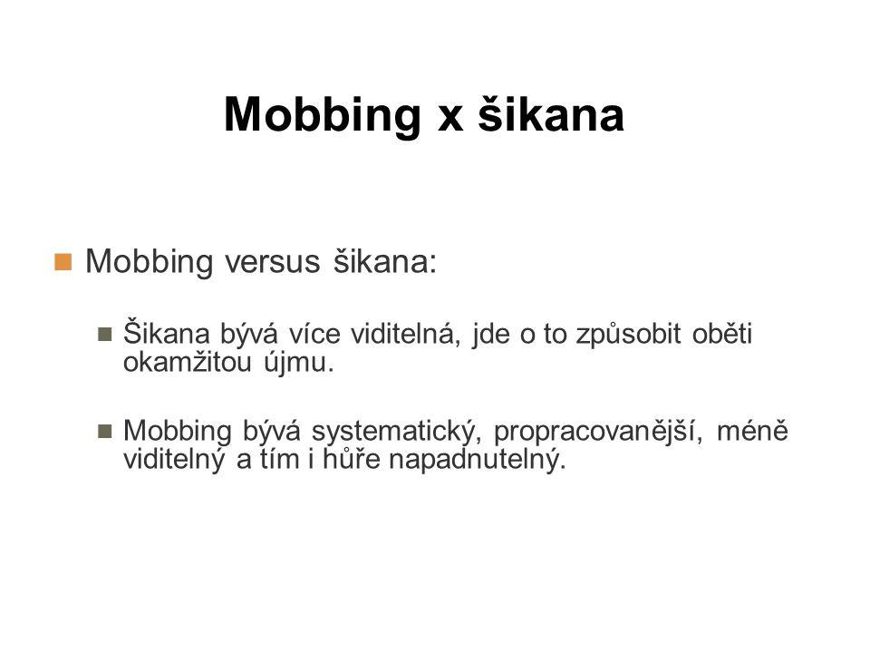 Mobbing x šikana Mobbing versus šikana: