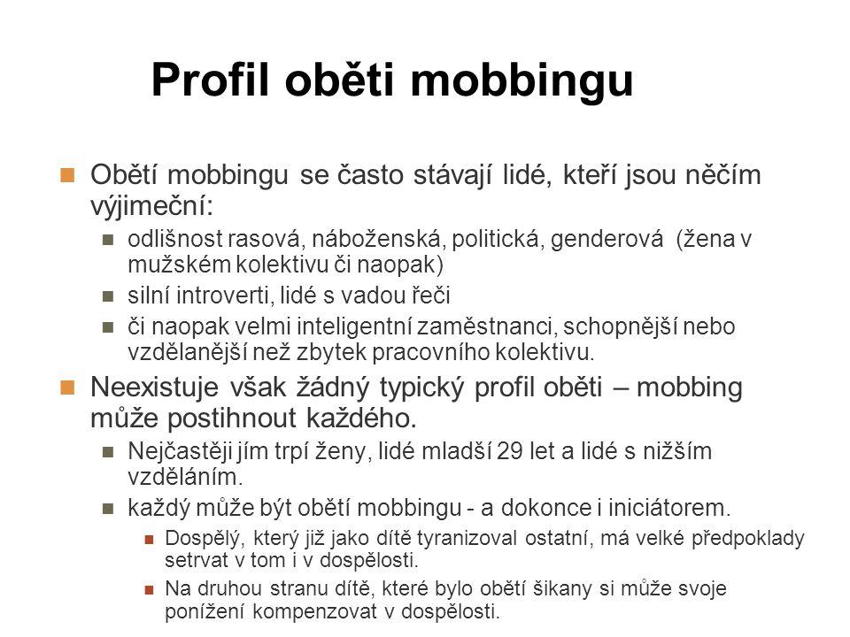 Profil oběti mobbingu Obětí mobbingu se často stávají lidé, kteří jsou něčím výjimeční: