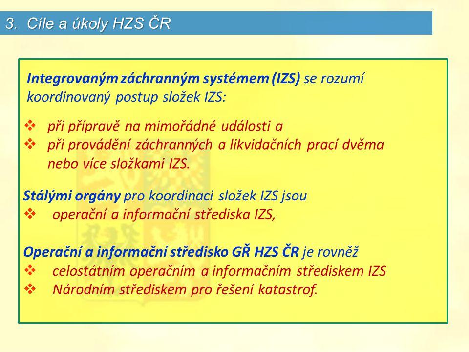 3. Cíle a úkoly HZS ČR Integrovaným záchranným systémem (IZS) se rozumí koordinovaný postup složek IZS: