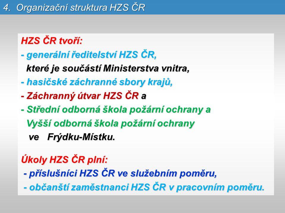 4. Organizační struktura HZS ČR