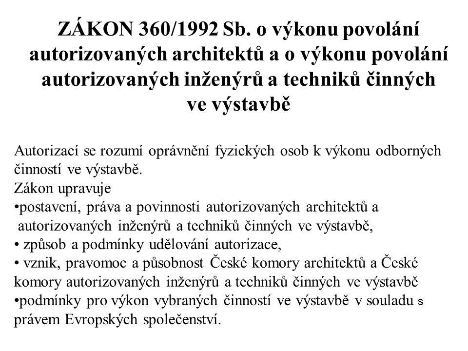 ZÁKON 360/1992 Sb. o výkonu povolání