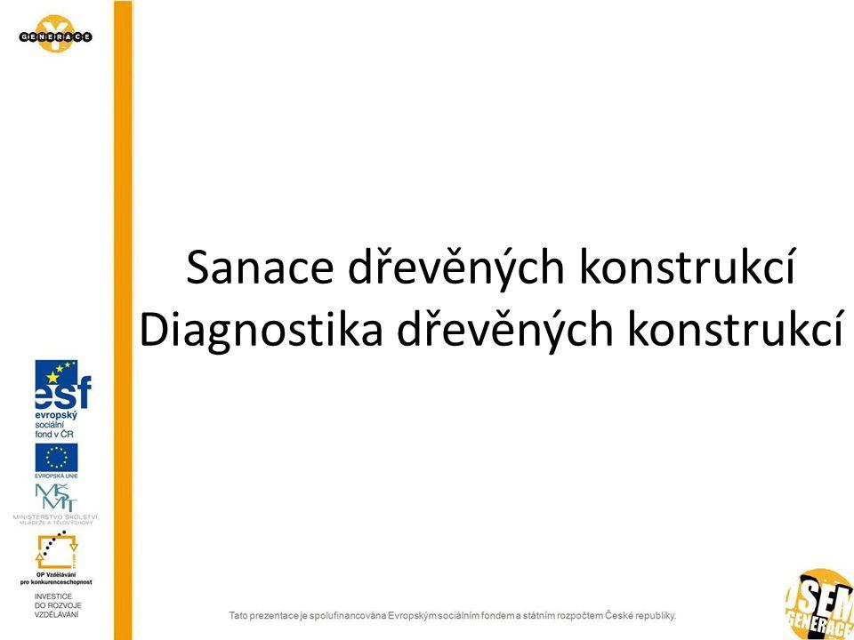 Sanace dřevěných konstrukcí Diagnostika dřevěných konstrukcí