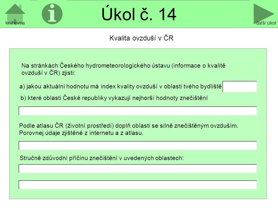 Úkol č. 14 Kvalita ovzduší v ČR