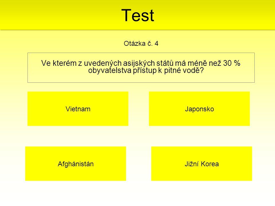 Test Otázka č. 4. Ve kterém z uvedených asijských států má méně než 30 % obyvatelstva přístup k pitné vodě