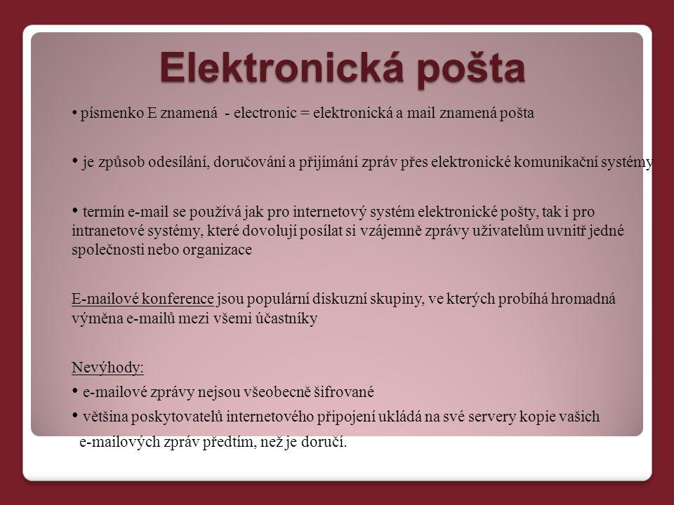 Elektronická pošta písmenko E znamená - electronic = elektronická a mail znamená pošta.
