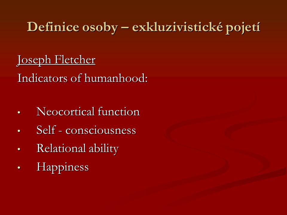 Definice osoby – exkluzivistické pojetí