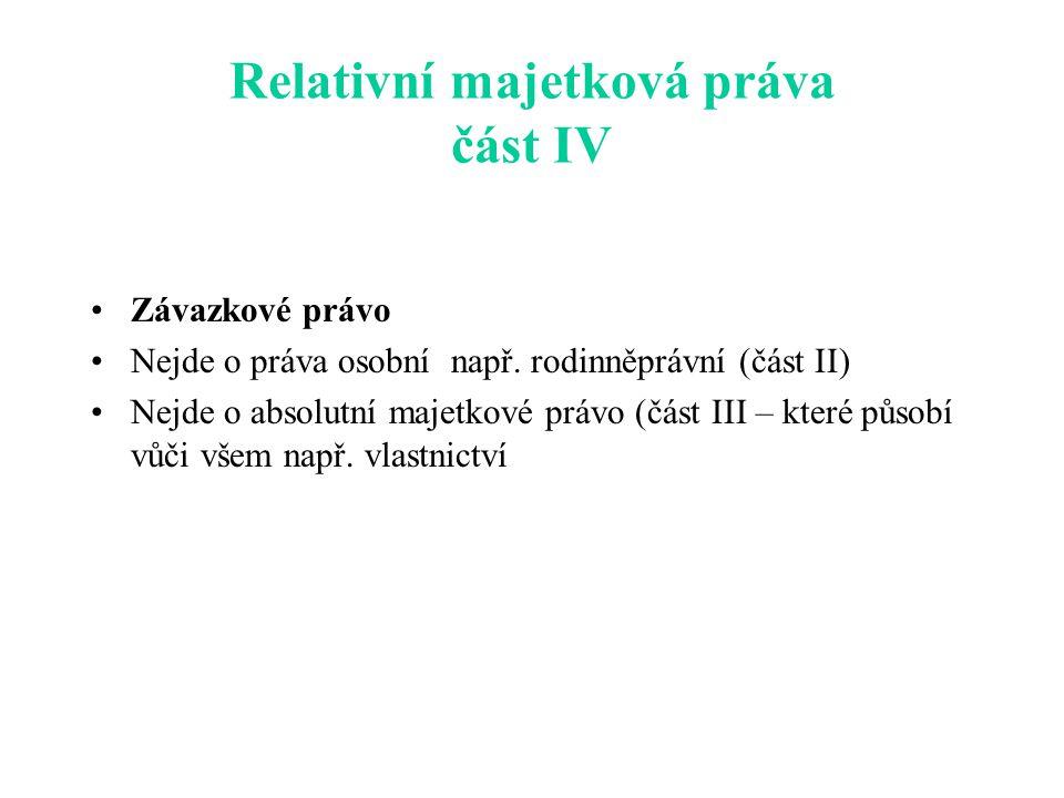 Relativní majetková práva část IV