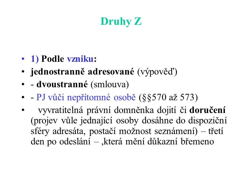 Druhy Z 1) Podle vzniku: jednostranně adresované (výpověď)